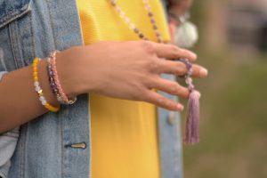 tija malik dress yellow zara model hands bracelet