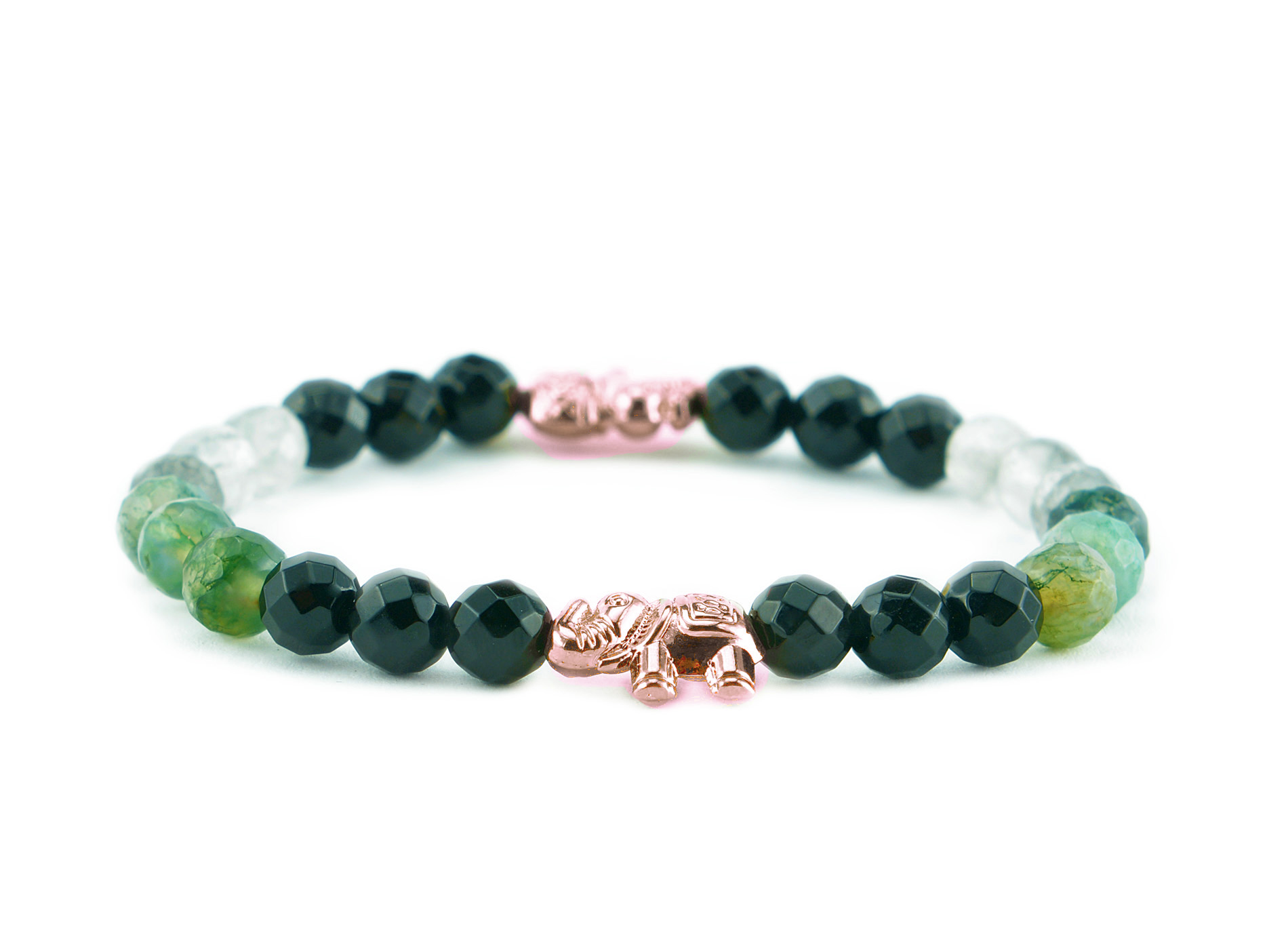 green elephant bracelet rose gold